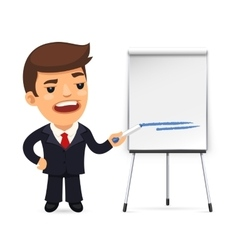 Businessman With Marker in Front of the Flipchart vector image