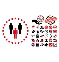 Community Flat Icon with Bonus vector image