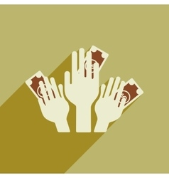 Flat web icon with long shadow money in hands vector