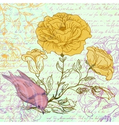 Grungy retro background with roses and bird vector image