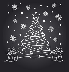chalkboard new year card with fir tree vector image