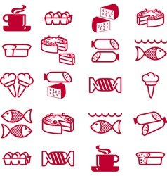 food theme icons vector image