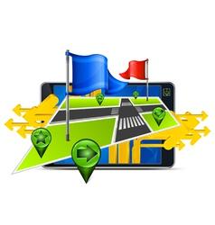 gps navigator stylized angles map vector image vector image