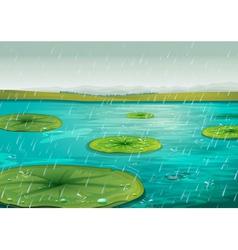 Rain on the pond vector image
