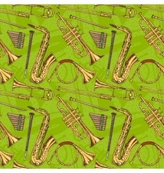 Seamless Pattern With Wind Musical Instruments vector image vector image