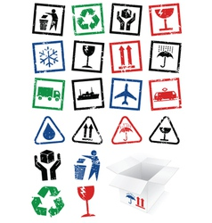 set of packing symbol stamps vector image vector image