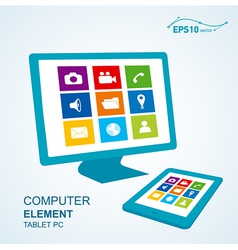 Tablet pc computer display vector