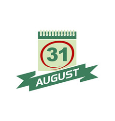 31 august calendar with ribbon vector