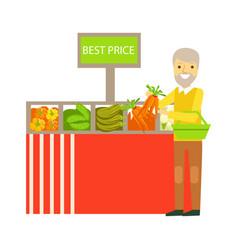 An elderly man choosing vegetables with best prise vector