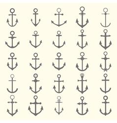 Big set of anchors Anchor symbols or logo template vector image
