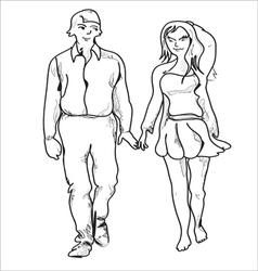 Couple Walking vector image vector image