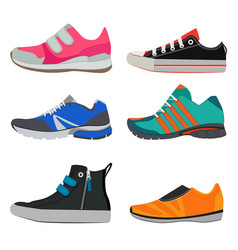 fashion pictures of different sport sneakers vector image vector image