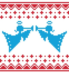 Knitted christmas angles card on seamless vector image vector image