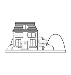 line house next to mountains and trees vector image vector image