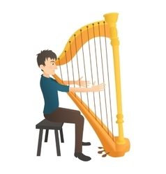 Man plays on harp icon flat style vector image vector image