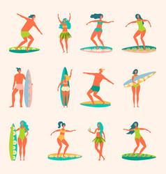 people with surfers vector image