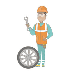 Young hispanic mechanic with tyre and spanner vector