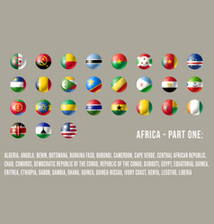 africa round flags part 1 vector image
