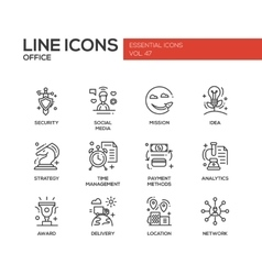 Business - flat design line icons set vector image