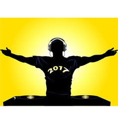 DJ shilouette with 2017 t shirt vector image vector image