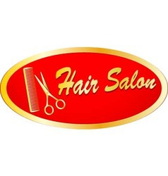 gold sign of hair salon with scissors and comb vector image vector image