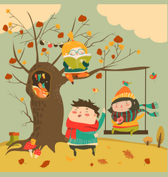 happy kids ride on a swing in the autumn forest vector image