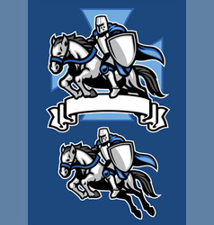 middle age knight warrior riding horse mascot vector image vector image