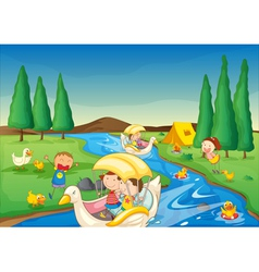 river and kids vector image
