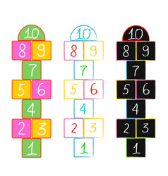 with hopscotch game drawn in colored vector image vector image