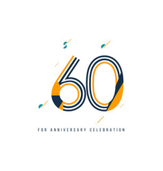 60 year retro anniversary celebration template vector