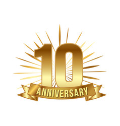 anniversary golden ten years number vector image