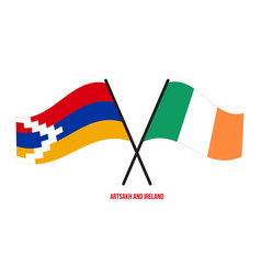 Artsakh and ireland flags crossed and waving flat vector