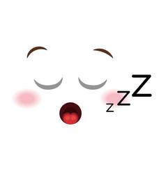 Asleep face emoticon kawaii style vector