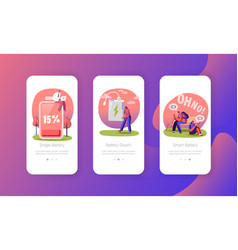 Battery low level wireless charging mobile app vector