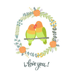 beautiful greeting card with floral wreathbirds vector image