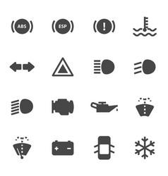 Black car dashboard icons set vector