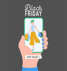 black friday concept sale mobile app vector image