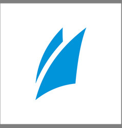 Blue sail logo icon abstract template vector