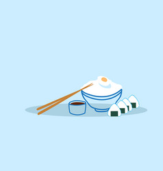 Bowl rice with boiled egg and sushi served with vector