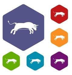 Bull icons set vector
