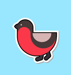 Bullfinch bird icon isolated cute winter sticker vector