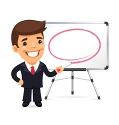 Businessman With Marker in Front of the Whiteboard vector image
