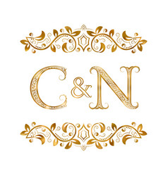 C and n vintage initials logo symbol the letters vector