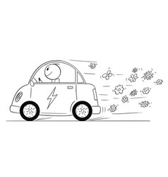 cartoon of happy man riding electric car flowers vector image