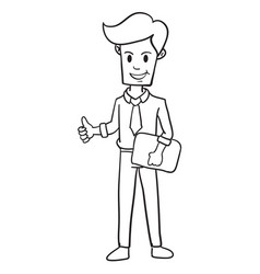 Character businessman with hand draw vector