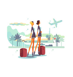 Charming stewardess with suitcases vector
