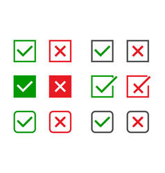 check marks set green tick and red cross in vector image