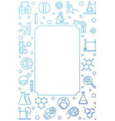 chemistry blue vertical outline frame vector image