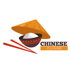 Chinese cuisine rice and chopsticks wit vector
