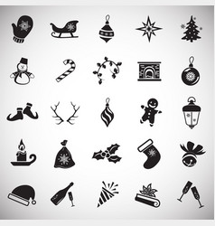 christmas and new year icons on white background vector image
